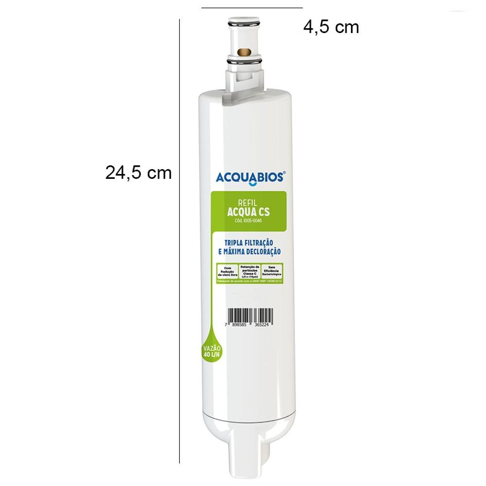 Refil Para Filtro Purificador de Água Consul Acqua CS Com Tripla Filtração Com Bateria Acquabios