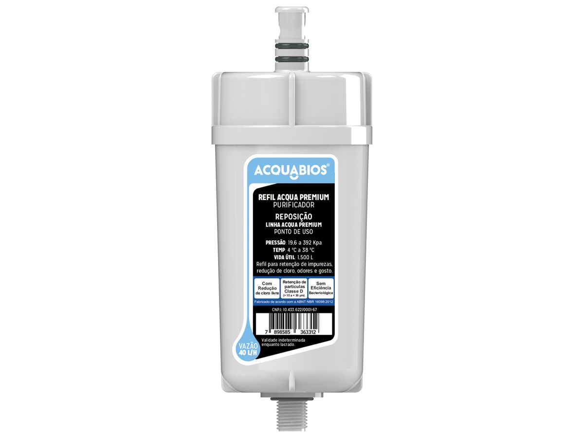 Refil Para Torneira Com Filtro Purificador de Água Blindado Tripla Filtragem Acqua Premium Original Acquabios