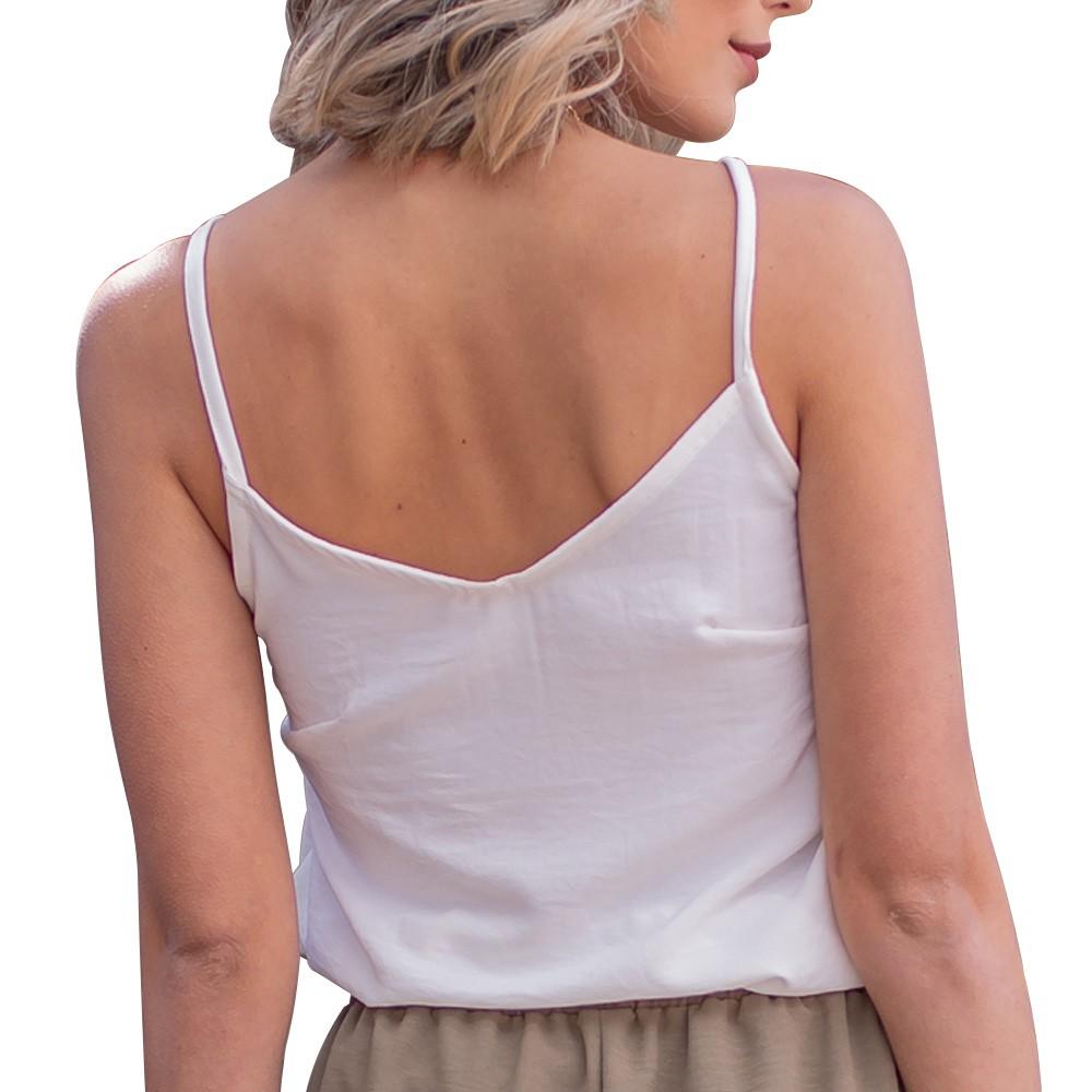 Blusinha Feminina Regata Com Alças Básica Em Crepe Plano Branca