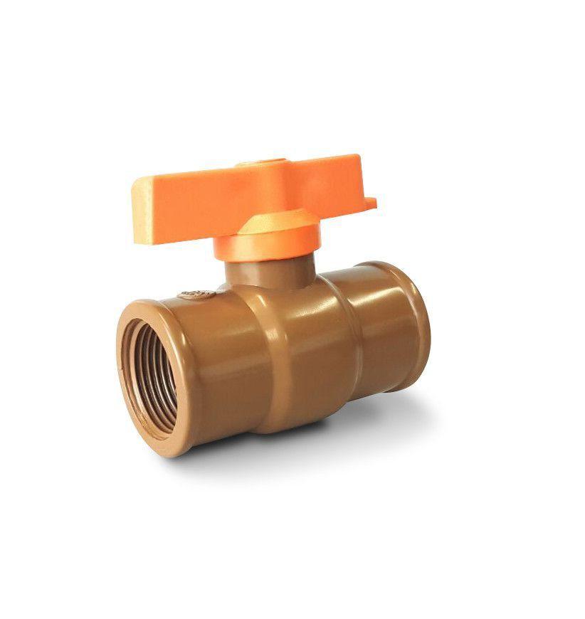 Registro Pvc Esfera Rosca Interna 50mm 1 1/2 Polegada Marrom