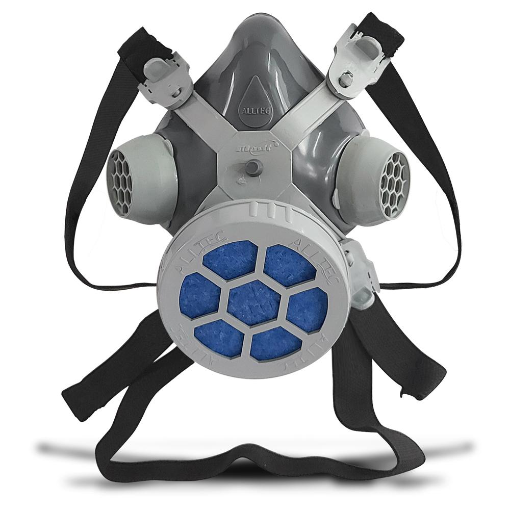 Máscara Respirador 1/4 Facial Mastt Alltec 2001 P2 Filtro de Uma Via Pintura Poeira Gases Nevoas Vapores