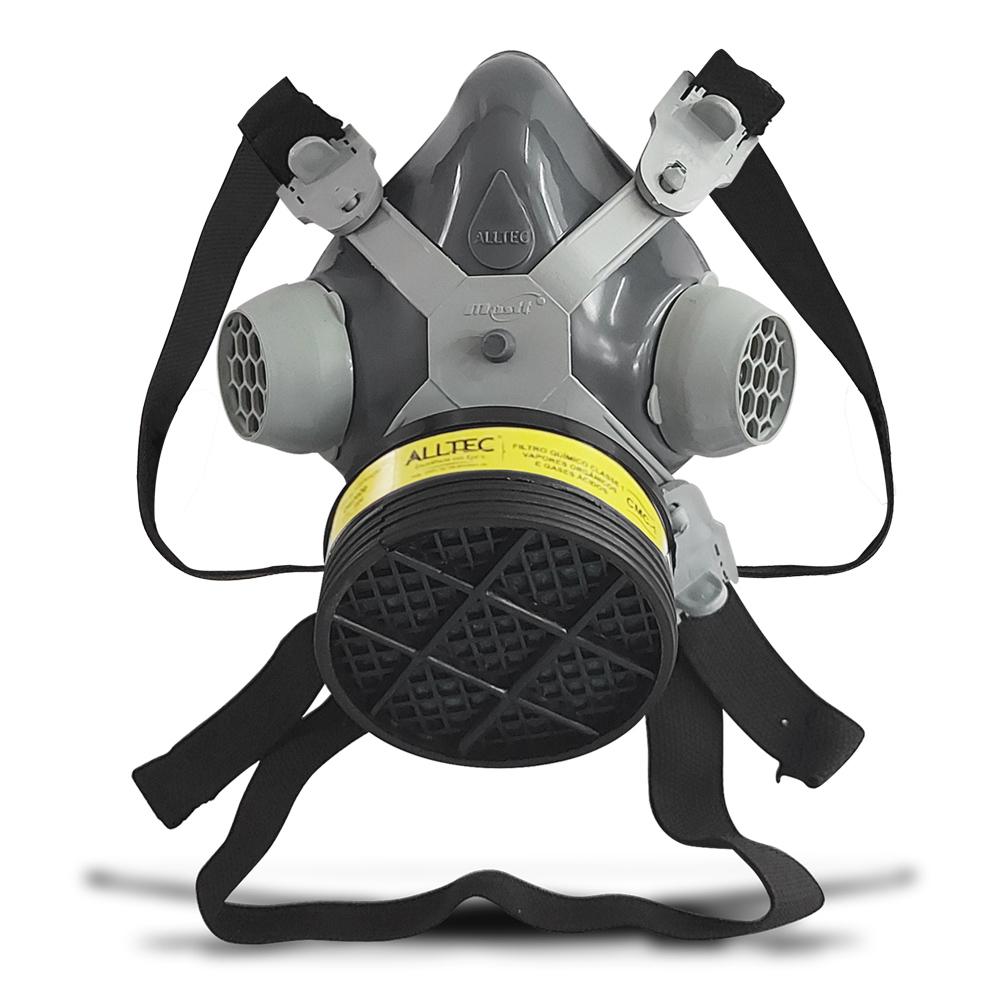 Máscara Respirador 1/4 Facial Mastt Alltec 2001 VO-GA Filtro de Uma Via Pintura Poeira Gases Nevoas Vapores