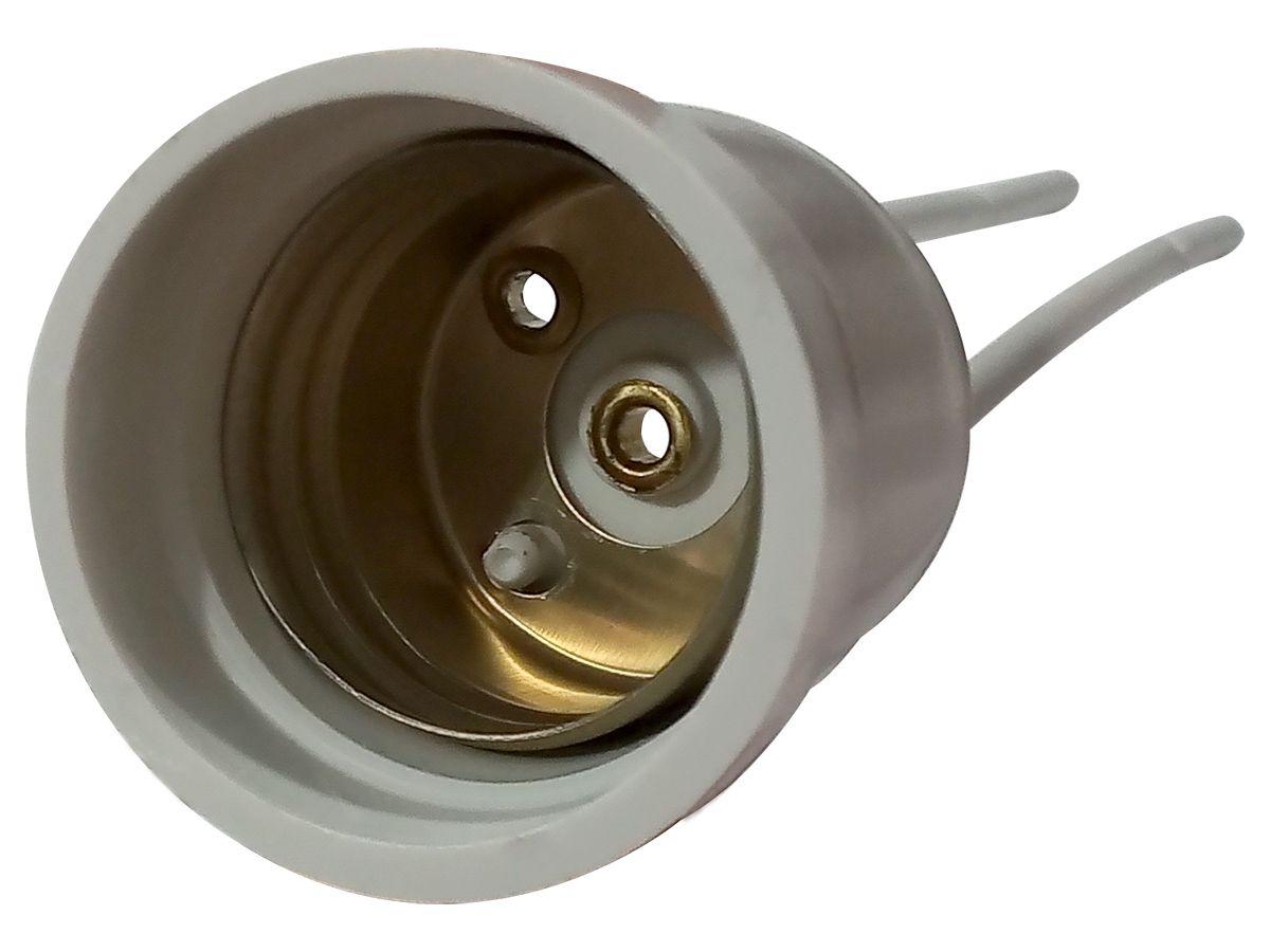 Soquete Com Rabicho Para Lâmpada Bulbo E27 2A Branco Bivolt 127v e 250v