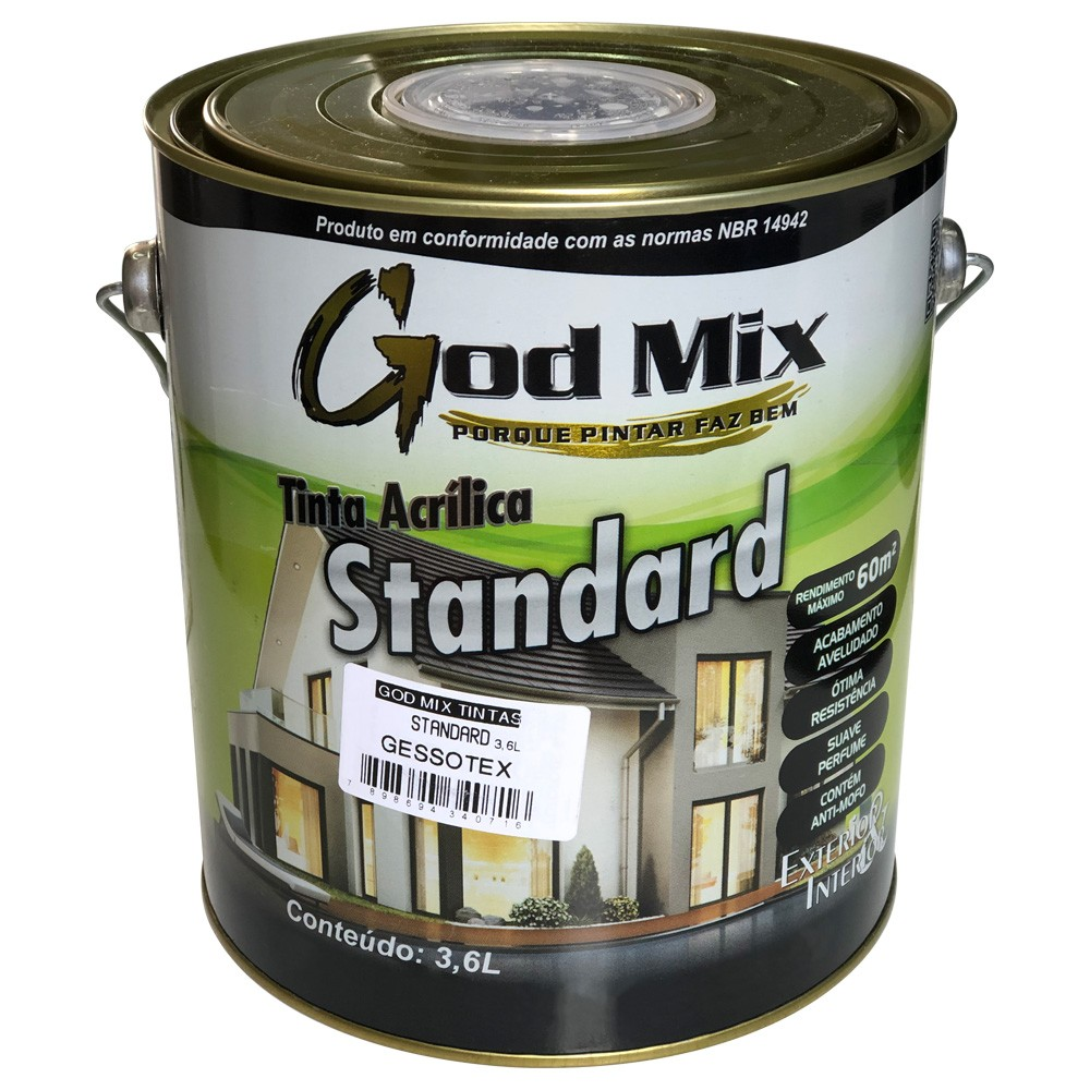 Tinta Gessotex Látex Acrílica Standard 3,6 Litros Branco Fosco God Mix  - EPM Acessórios