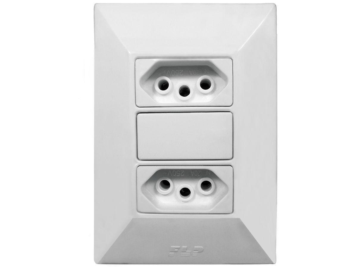 Tomada Dupla 2p+t 10A Com Placa Espelho Branco Linha Dubai Bivolt 127v e 250v