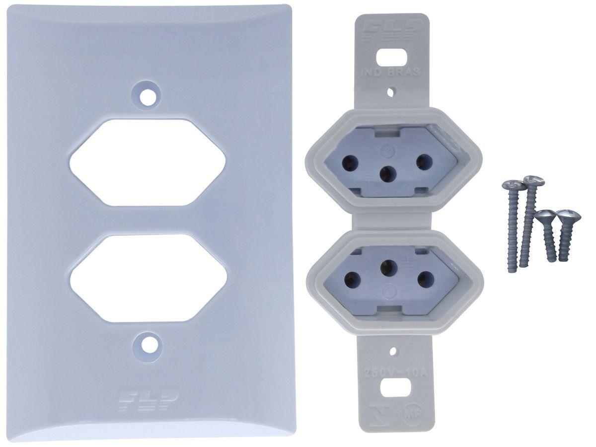 Tomada Dupla 2p+t 20A Com Placa Espelho Branco Com Inmetro Bivolt 127V e 250V