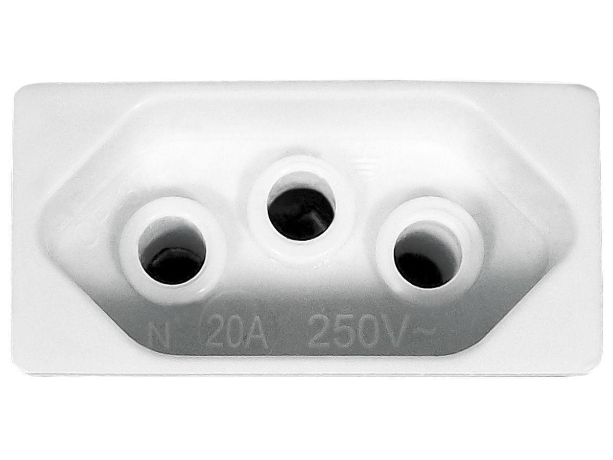Tomada Dupla 2p+t 20A Sobrepor Externo Com Placa Espelho Branco Linha Viena Bivolt 127v e 250v
