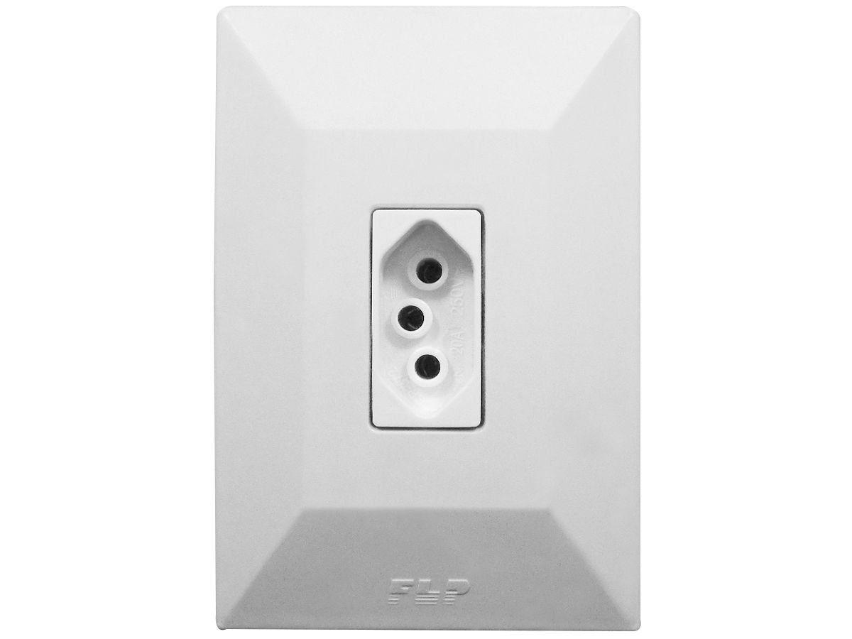 Tomada Simples 2p+t 20A Com Placa Espelho Branco Linha Dubai Bivolt 127v e 250v