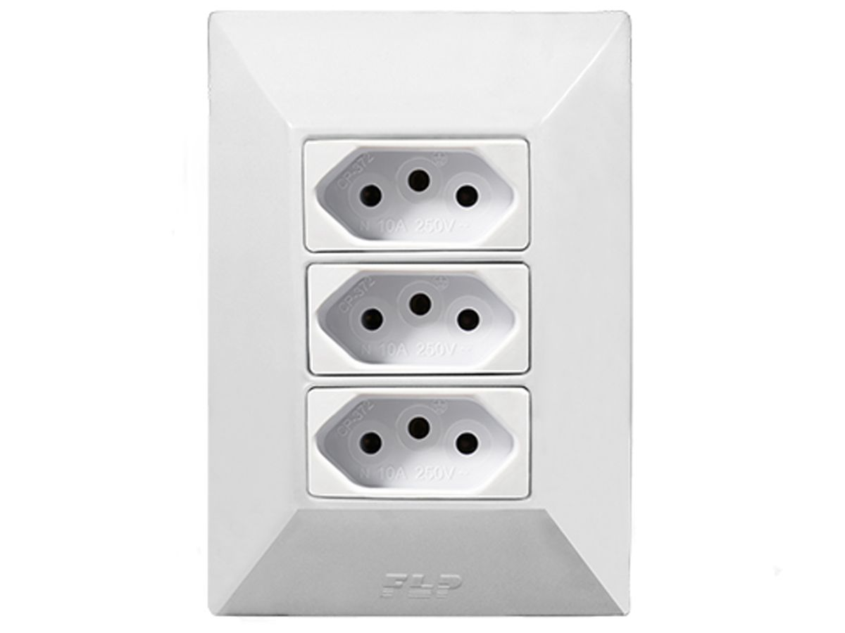 Tomada Tripla 2p+t 10A Com Placa Espelho Branco Linha Dubai Bivolt 127v e 250v