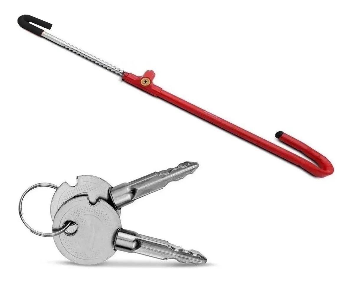 Trava Carneiro Antifurto Pedal Volante Chave Tetra Universal De Aço Para Carro Multilaser - AU525
