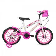 Bicicleta Free Action Aro 16 Kiss C/ Cesta Branco E Rosa - Status Bike