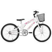 Bicicleta Free Action Aro 20 Branca Kiss Com Cesta 04047035 - Status Bike