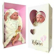Boneca Bebê Reborn Bege Olho Aberto 1265 - Baby Brink