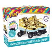Patins Com Led 4 Rodas Dourado 33/34 83104 - Fun