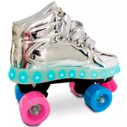 Patins Com Led 4 Rodas Prata 35/36 83102 - Fun