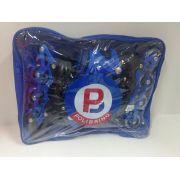 Roller Galaxy Azul Roda Em Pvc Com Luzes 30/33 Polibrinq