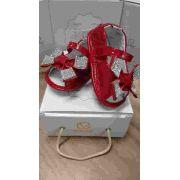 Sandalia Peep Toe Vermelho Verniz Com Laço Nº18