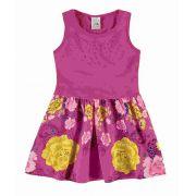 Vestido Rosa Com Apliques  Tam 3