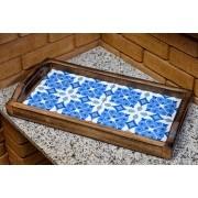 Bandeja em Madeira e 2 Ladrilhos - Mandalas Azul Claro