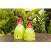 Bonecas africanas em cabaça vestido verde