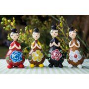 Bonecas decorativa em cabaça japonesa coque com 4 peças