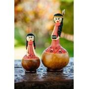 Bonecas Índias em Cabaça - Kit com 2 Peças