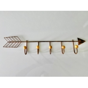 Cabideiro em Ferro e Formato de Flecha com 05 Ganchos