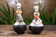 Casal de Bonecos em Cabaça Profissões - Cozinheiros