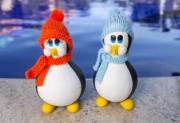 Casal de Pinguins com Toca e Cachecol de Lã - Laranja e Azul