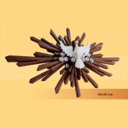 Divino Resplendor 40 cm x 60 cm - Marrom com Flores