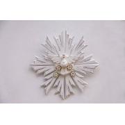Divino Resplendor 37 cm x 37 cm - Branco com Flores