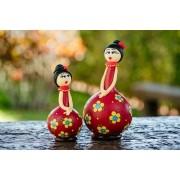 Dupla de Bonecas em Cabaça com Vestido Vermelho