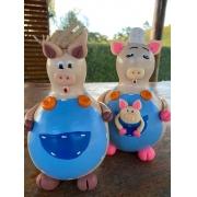 Família de Porquinhos em Cabaça