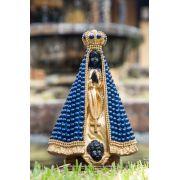 Imagem Nossa Senhora Aparecida em Gesso - manto azul em pérola