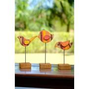 Jogo de Pássaros Decorativo em Madeira