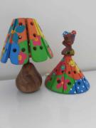 Kit Abajur e Luminária em Madeira Rústica -  Vestido Colorido
