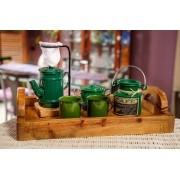 Kit Bandeja + Peças de Café / Verde com Canecas Verdes