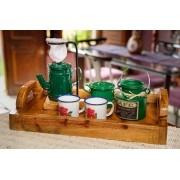 Kit Bandeja + Peças de Café / Verde Escuro com Canecas Brancas Floridas