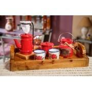 Kit Bandeja + Peças de Café / Vermelho com Canecas Brancas Floridas