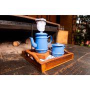 Kit bandeja pequena, kit mini bule 250 ml e açucareiro azul claro
