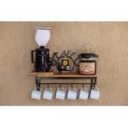 Kit cantinho do café com kit bule preto e leiteira de 1 litro em alumínio com canecas brancas