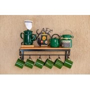 Kit cantinho do café com kit bule verde  escuro 250 ml em alumínio, açucareiro 100gr, mini leiteira 500ml e com canecas verde escuro