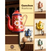 Kit com 5 Ganchos em Madeira Rústico Formato de Bule