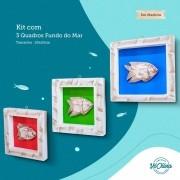 Kit de Quadros em Madeira Fundo do Mar - Peixes