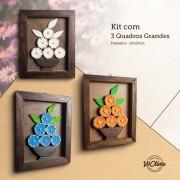 Kit de Quadros em Madeira Rústico com Flores