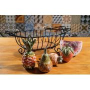 Kit Fruteira em Ferro Retangular + Frutas em Madeira