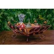 Kit fruteira em ferro folhas com frutas em madeira