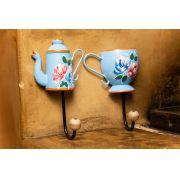 Kit ganchos - xícara e bule em madeira azul claro
