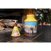 Kit lamparina e lata de leite decoradas amarela em latão