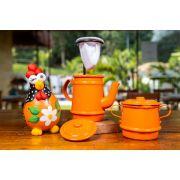 Kit laranja mini bule, galinha e açucareiro